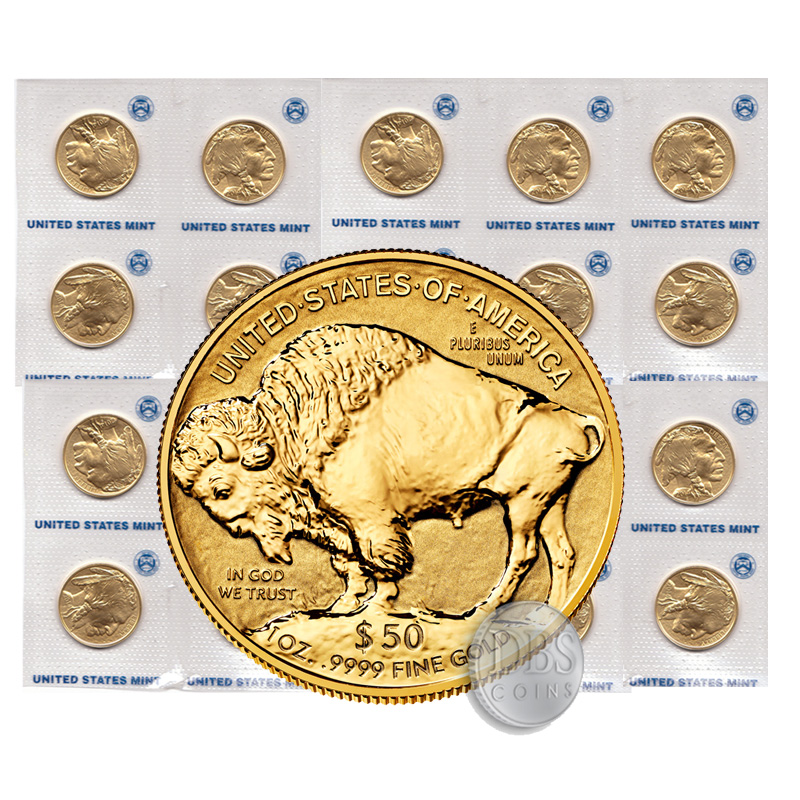 2016 Gold American Buffalo 1 Oz 20 Coins Mint Tube