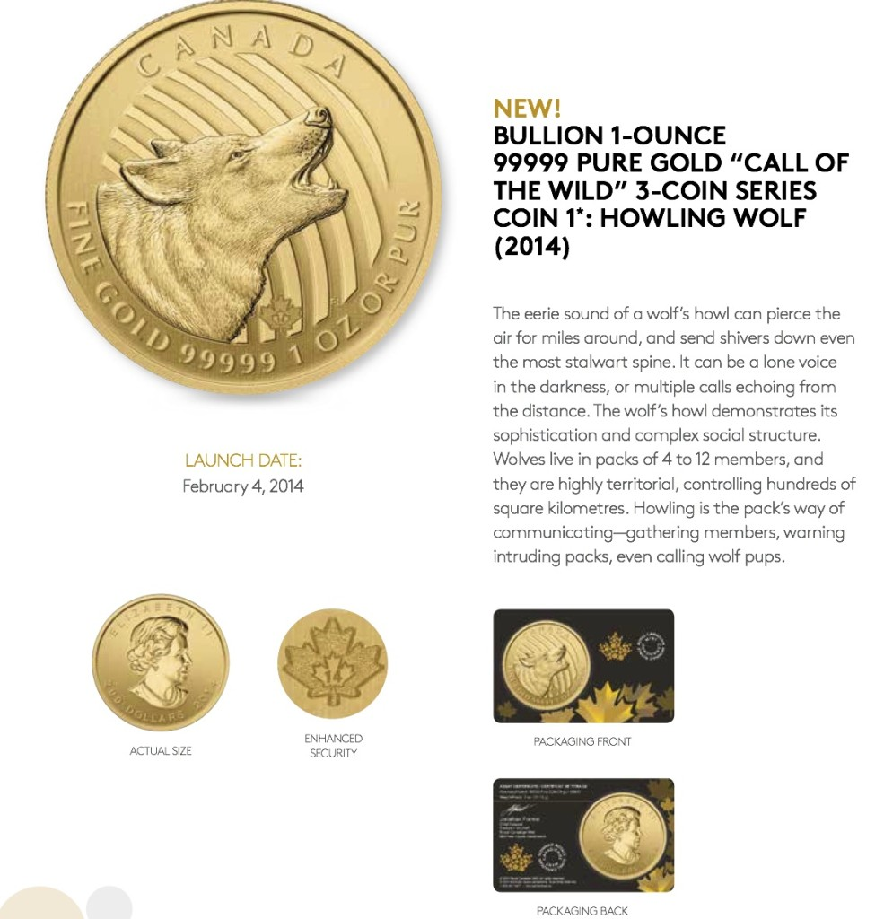 Sales Sheet - 2014 Bullion 9999 Howling Wolf