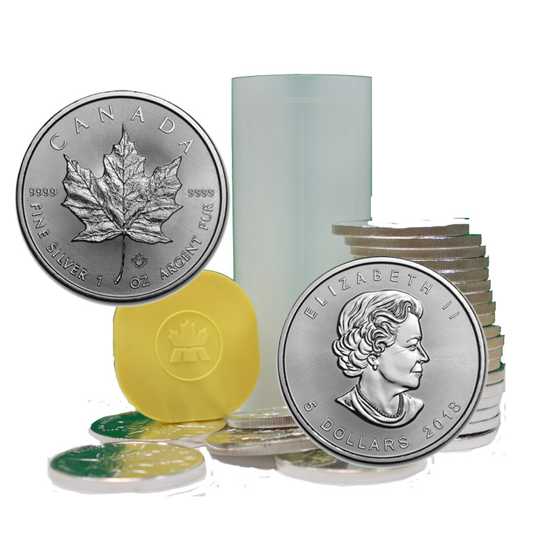 Buy 2018 Silver Canadian Maple Leaf Coins In Mint Tubes Of