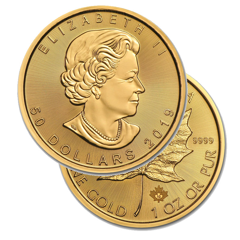 Buy 2019 Gold Maple Leaf 1oz  coins Online 9999 fine Gold